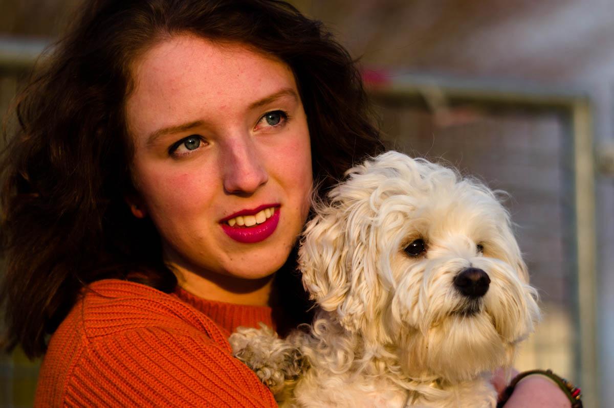 beauty brunette marijke with her cute little dog mómo