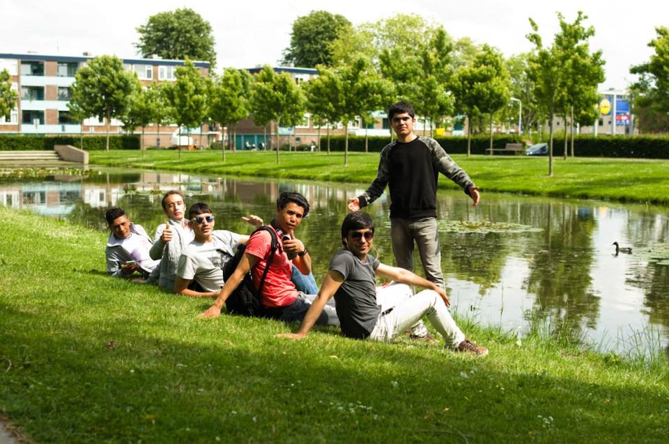 jongens in het park